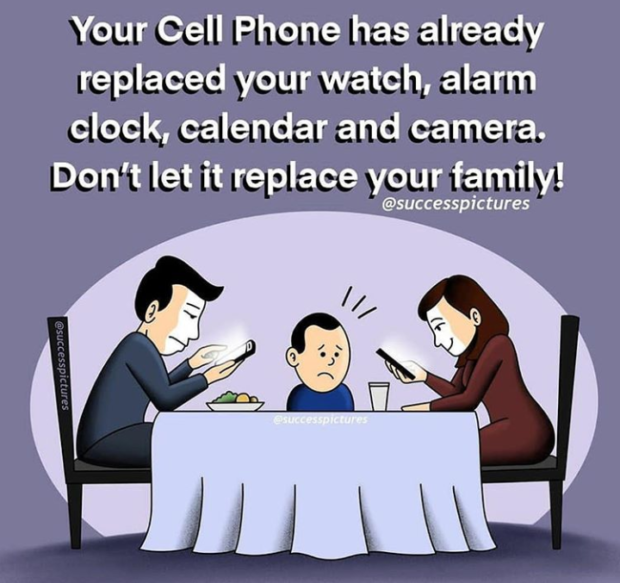 Your Cell Phone has already replaced your watch, alarm clock, calendar and camera. Don't let it replace your family! @successpictures https://inspirational.ly