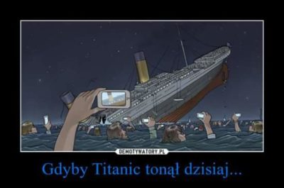 "Posted by a hairdressing salon (translation: ""If Titanic sank today"")"