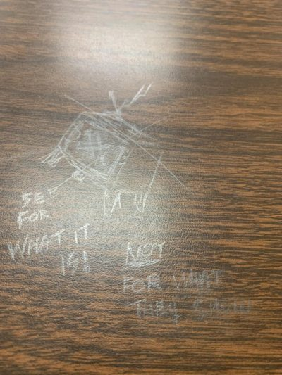 Drawn on a desk at my university.