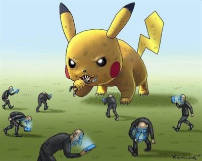 Look at the phone and Pikachu will eat 'cha