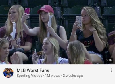 "Sports fans using their phones = ""Worst"" fans"