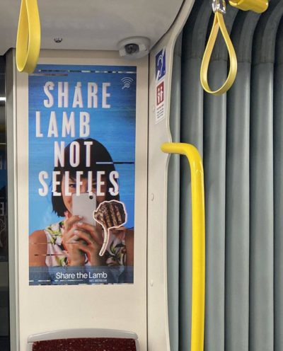 Lamb advertisement on public transport in Australia