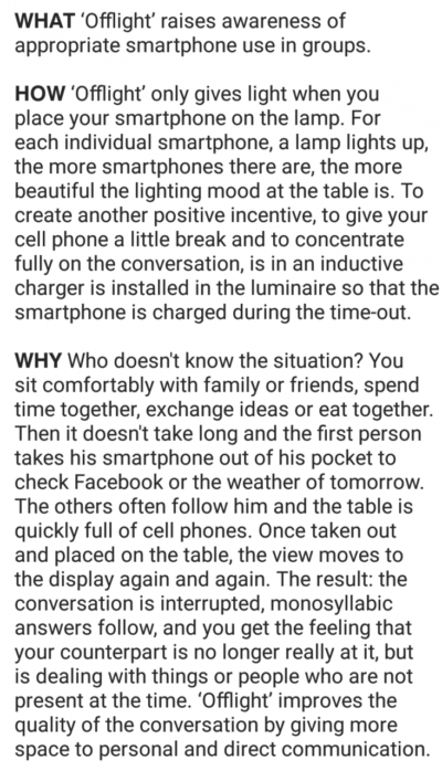 A lamp that only comes on when everyone sits their phone on it. Being advertised on a social media site, of course.