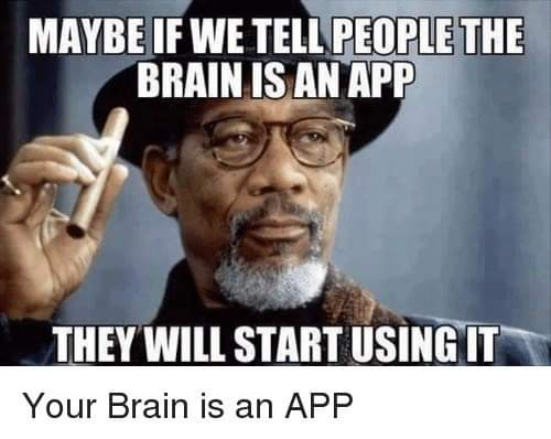 "MAYBE If WE TEll'PEOPIJE—ETIIE BRAIN IS AN APP ' .7""? s. ,4 v ' '- 1' .. fi 3 -. '[IIEV Wlll START IISINIfiT' Your Brain is https://inspirational.ly"