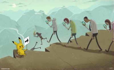 Pikachu our hero! Saving us from those millennial PHONE ZOMBIES!