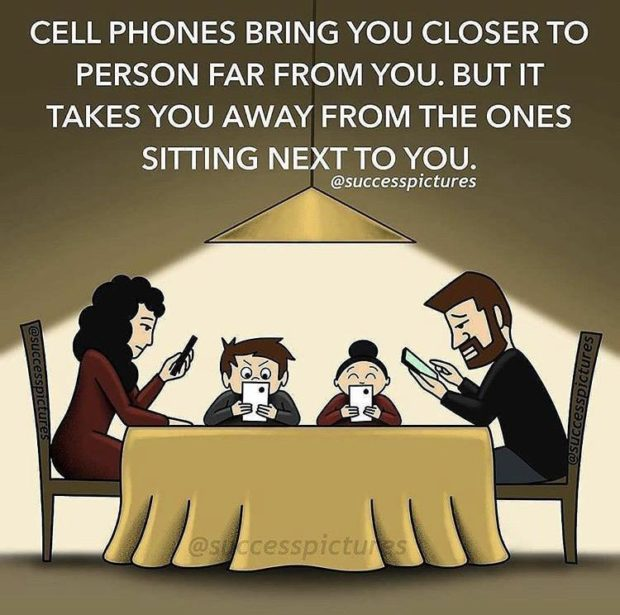 CELL PHONES BRING YOU CLOSER TO PERSON FAR FROM YOU. BUT IT TAKES YOU AWAY FROM THE ONES SITTING NEXT TO YOU. @successpictures https://inspirational.ly